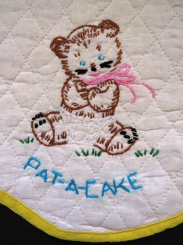 Hand Embroidered Baby Bib Quilted Brown Bear Pat A Cake Vintage Infant Bib EUC