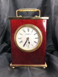 Howard Miller Desk Clock Mantle Clock Carriage Clock Rosewood And Brass 7