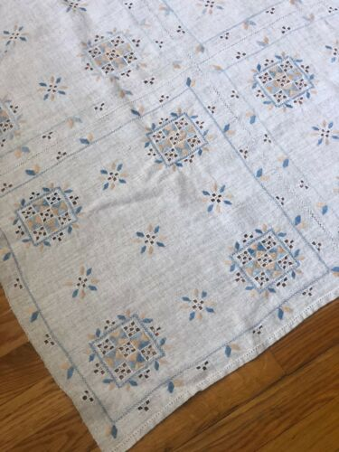 """Antique 19th c. blue & pale peach hand embroidered linen table cover (53"""" sq.)"""
