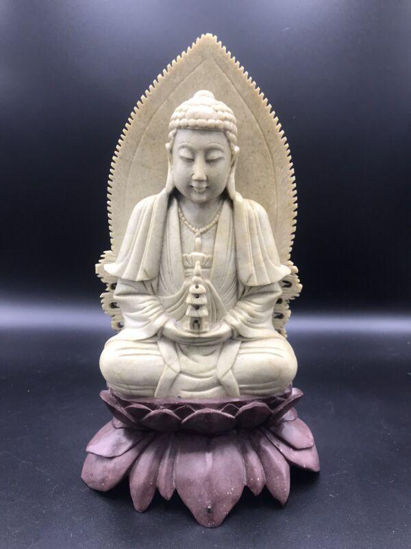 Large Antique Soapstone Buddha Figure