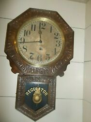 ANTIQUE New Haven  SCHOOL HOUSE TIME WALL REGULATOR CLOCK No Reserve