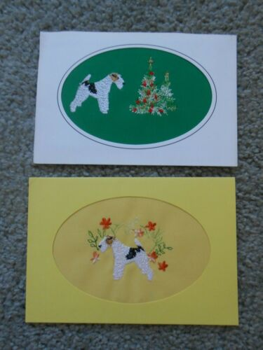 Two Beautiful Vintage Embroidered Terrier Keepsakes Cards by Dogmania