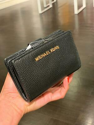 Michael Kors Women Bifold Coin Wallet Credit Card Holder id Leather Purse Black