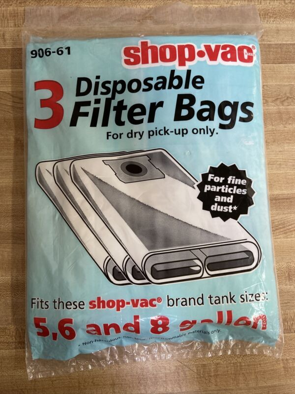 Shop Vac Filter Bags for 5,6 & 8 Gallon 906-61 -1 Bag Free Shipping!!