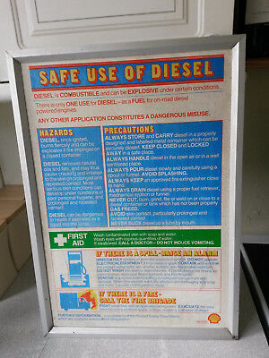 VINTAGE ADVERTISING SIGN - SHELL PETROL STATION FORECOURT - DIESEL WARNING SIGN