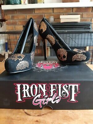Iron Fist Gold Star Pointed Platforms UK7 Gold Skulls Sequins Black Nearly New