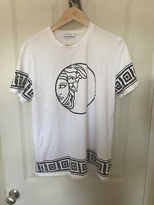 Versace Collection White Black Medusa T Shirt Large L Men's Authentic Perfect