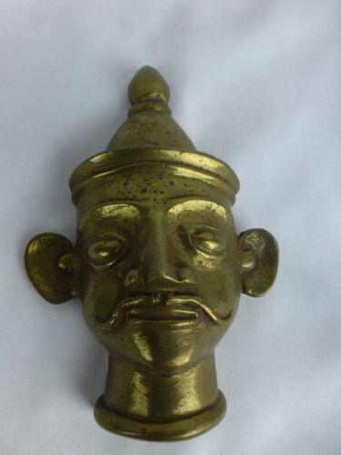 Great Antique Indian Ritual Brass God Shiva Head Mukhalingam #2