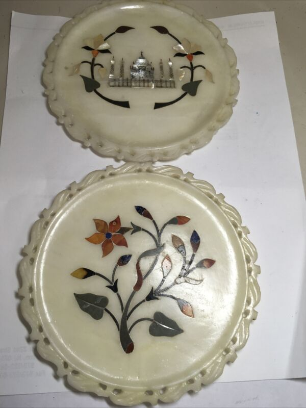 "2 Pieces 6"" Carved Stone Gem Intarsia Plates Jaipur India #252"