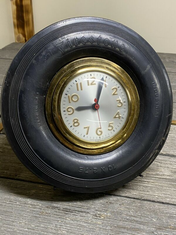 Vintage Custom Firestone Tire Electric Clock With Stand One Of A Kind!