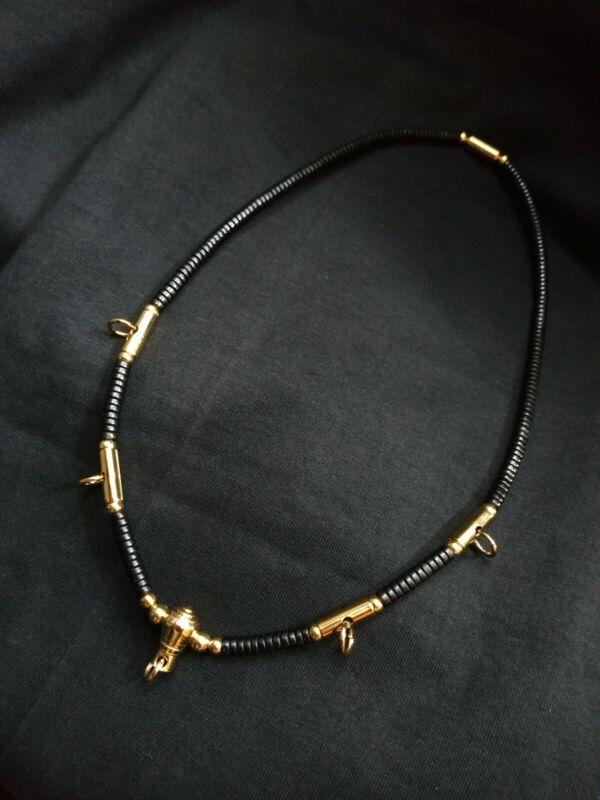 Thai Buddha Amulet Necklace Coconut shell Gold Beads 5 Hooks Phra Pendants.