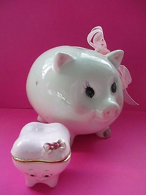 baby GIRL  1st  tooth keep sake  enamel trinket & PINK  pig  polka dot bank