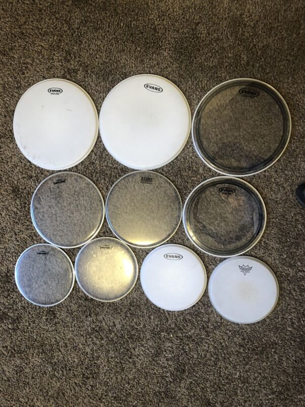 Lot of 10 Assorted Drum Heads