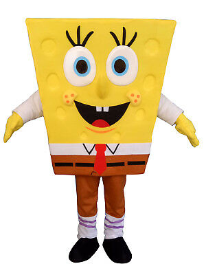 Adult Sponge Bob Costume (SpongeBob SquarePants Halloween Adult Mascot Costume Fancy Dress Cosplay)