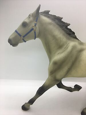 Breyer Holding Co Grey Horse with Black&White Tail & Blue Head Piece Toy Figure