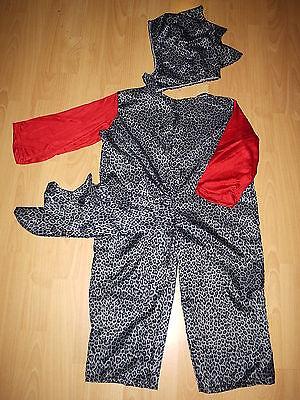 DRACHE DINO KOSTÜM HANDARBEIT USA 98-104 UNIKAT rot grau schwarz - Schwarz Drachen Kostüm