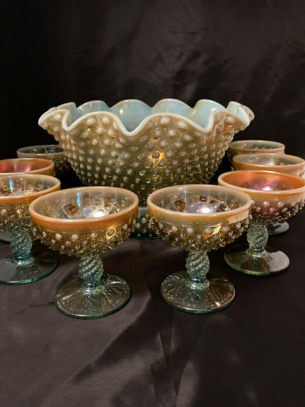 FENTON/LEVAY AQUA OPALESCENT CARNIVAL GLASS HOBNAIL CHAMPAGNE Punch Bowl