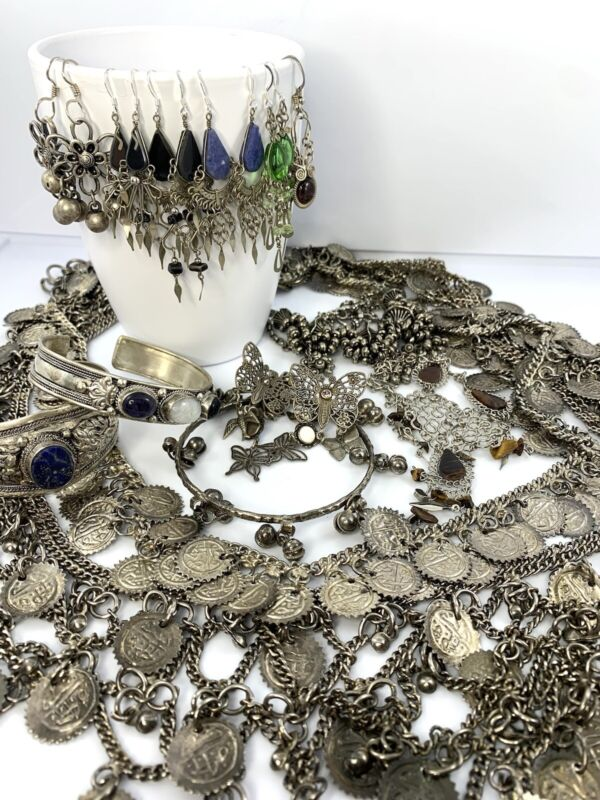 Mixed Jewelry Lot Middle Eastern/India Tribal Ethnic Earrings, Coin Belts 14pcs