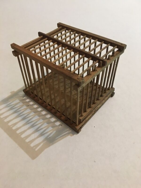 Vintage Chinese Wood Handmade Cricket Cage with Opening Door/Window