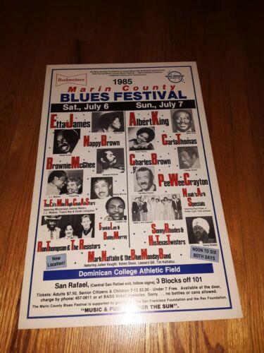 1985 MARIN COUNTY BLUES FESTIVAL POSTER 13 x 20 Albert King Etta James & More