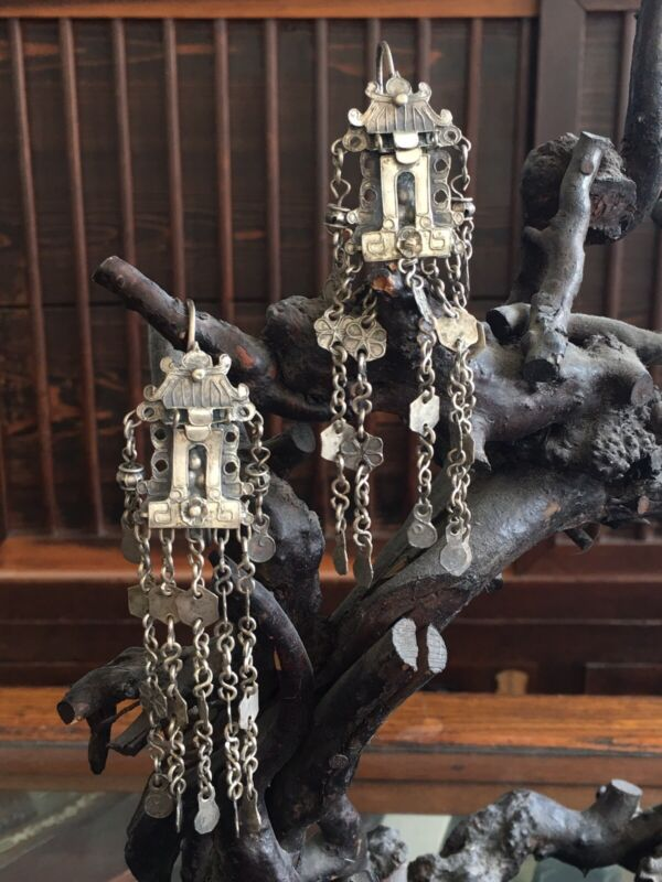 Antique Chinese Silver Wedding Earrings of the minority