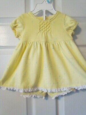 Carter's Kids Yellow Floral Eyelet Trim Smocked Baby Girl Dress Size 6-9 Months