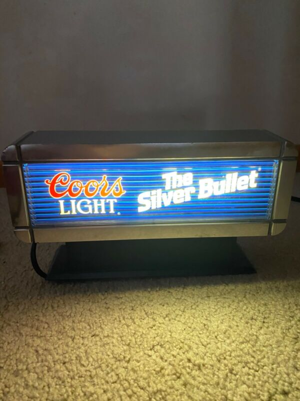 coors light,lighted beer sign silver bullet exc con