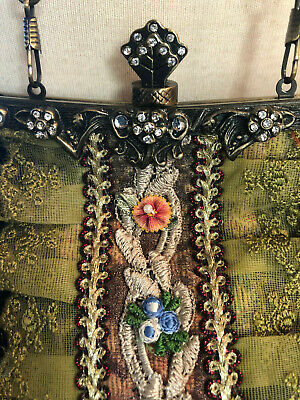 Vintage Style Tapestry Purse Floral Rhinestones Lace Cross Body Chain Chain Floral Cross