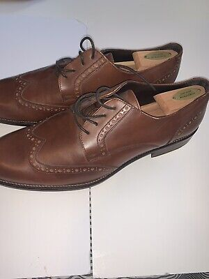 A. Testoni Men's Leather Brown Lace Up Wingtip Oxfords Shoes US 13