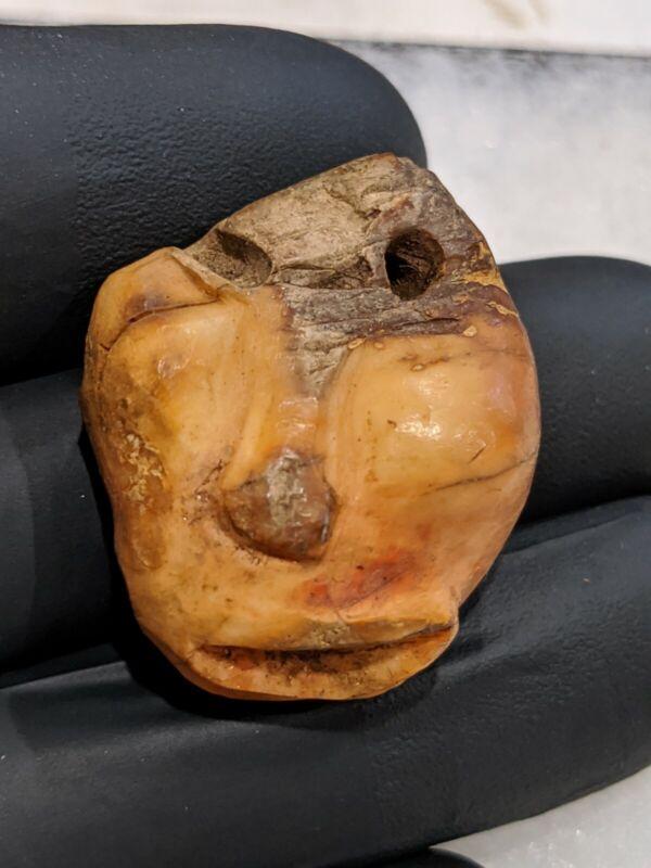 *Tomachee Artifacts* 🌟 PUNCTATE EFFIGY FACE PENDANT ESKIMO BERING SEA ALASKA