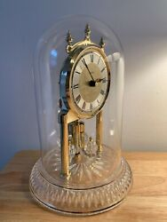 Beautiful Linden Glass Dome Mantle Clock, Has Lead Crystal Base, GREAT CONDITION