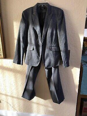 EMILY Grey 2 Pc Pant Suit Womens Size 12 Gray Pants Zipper 1 Button Jacket