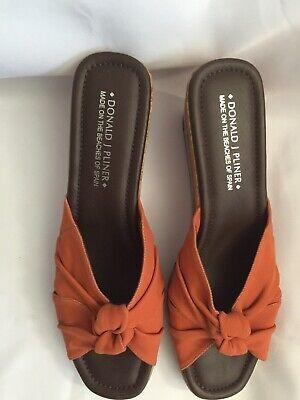 BEST Donald J Pliner 12 M Charm Orange Tang Wedge Sandals VERY GOOD in (Best American Leather Goods)