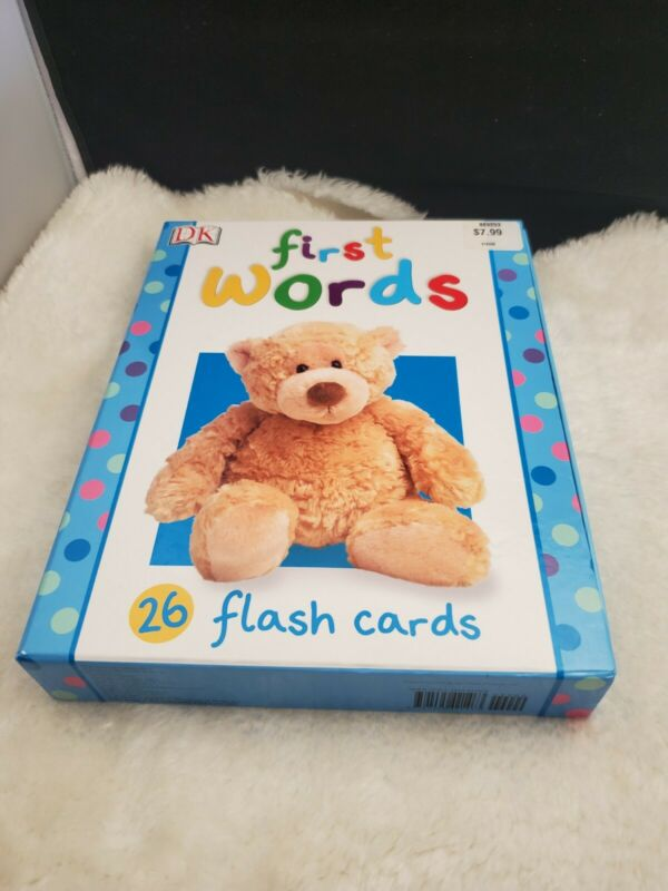 """FIRST WORDS 26 LARGE FLASH CARDS 10 """" x 7.75 """" BY DK NEW"""