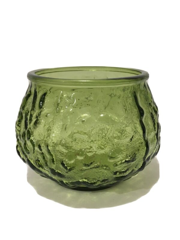 Vintage Crinkle Glass Bowl/Vase Green E.O .Brody Co. Made In USA Cleveland Ohio