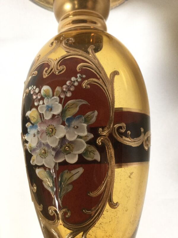 Vintage TRE FUOCHI Painted Flowers & 18k GOLD VENETIAN Italy Glass Candlestick