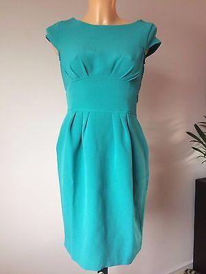 Closet @ ASOS Cap Sleeve Dress with Curved Waistband Teal UK 8 (C109)