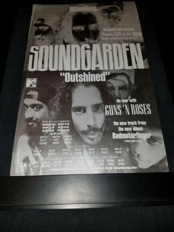 Soundgarden/Guns n Roses Outshined Rare Original Radio Promo Poster Ad Framed #2