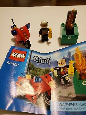 LEGO City 60000 Fire Motorcycle Complete Set & Instructions Retired