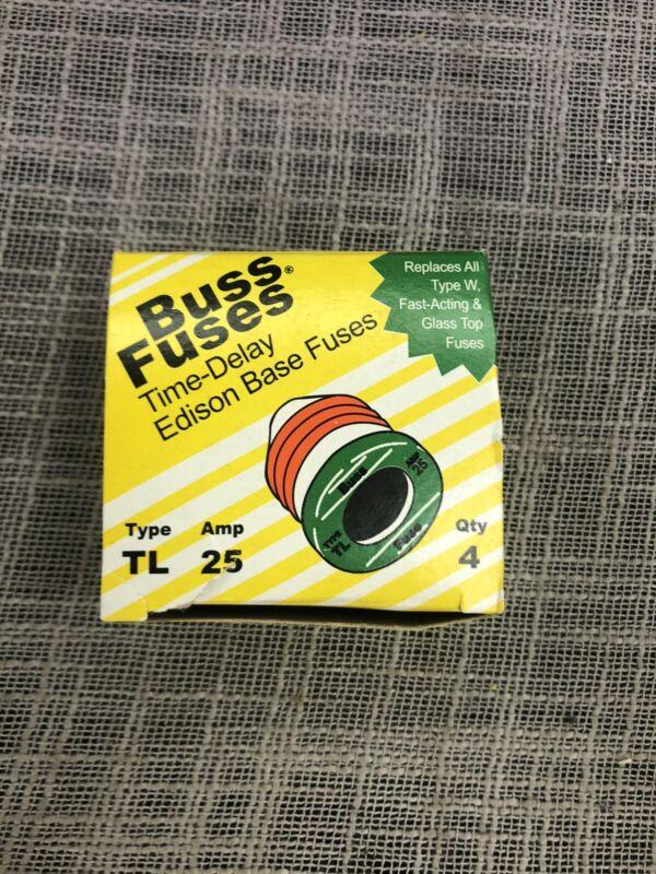 Bussmann Fuses Tron TL-25 25A Time Delay TL Plug Fuse 4 Pack