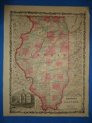 1860 Antique Map (*SALE* - Circa 1860's ILLINOIS MAP Old Antique Original Atlas ~B )