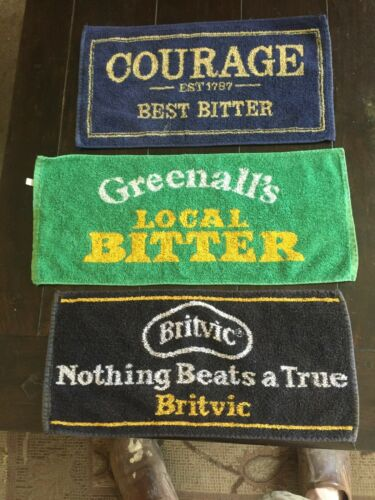 Lot of 3 Bar Towels Beer , greenalls, courage and britvic orange