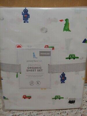 3pc Pottery Barn Kids Preston Organic Toddler Sheet Set NWT Car Robot Animal Sun