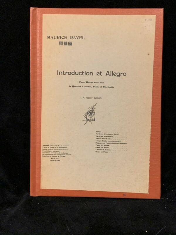RAVEL - Introduction et Allegro for Harp, Quartet etc SCORE- DURAND - HARDBOUND