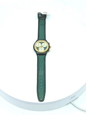 1991 Swiss Swatch Watch Chronograph Rollerball SCB107 Green Leather Band NIB