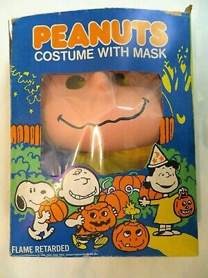 VTG 1965 Charlie Brown Peanuts Costume Mask Toy Original Box Collegeville