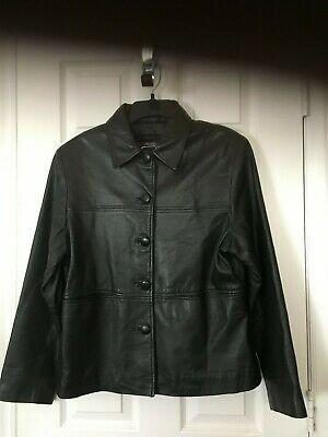 Womans Saguaro Black Leather Jacket - Size L