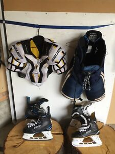 Bauer Hockey Jr. Large Equipment  & Bauer Sr. Skates