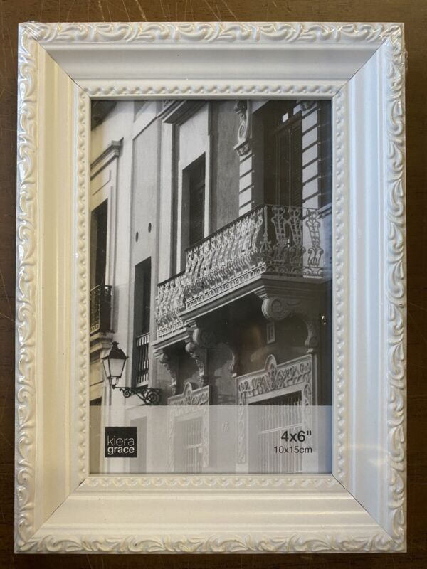 Kiera Grace White Raised Leaf Boarder Picture Frame For 4 x 6 Photo