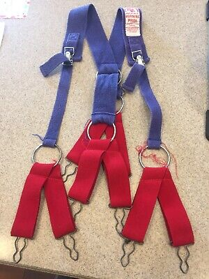 Morning Pride Honeywell Firefighter Suspenders Blue Vintage Excellent Condition